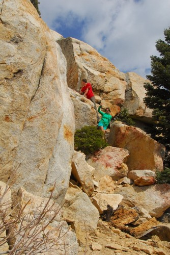 Melanie and I on a scrambling adventure.