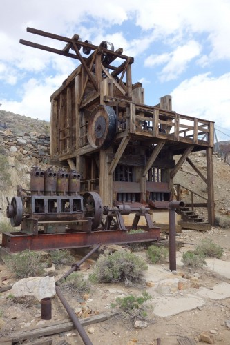 A closer view of the stamp mill.