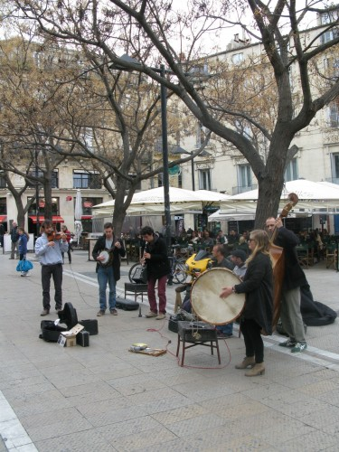A bit of street music, these guys sounded great. The girl was singing sometimes.