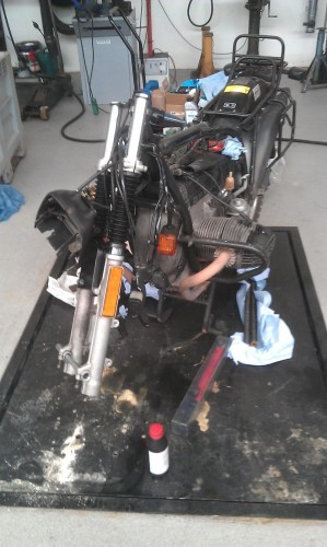 Partly refitted front fork