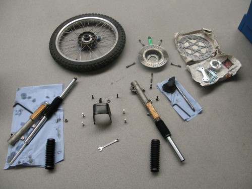 Front fork disassembled.