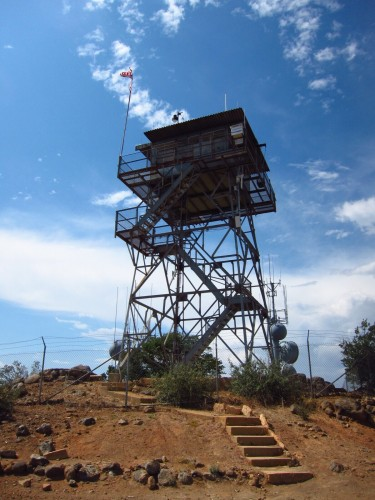 Los Pinos lookout tower. The only professionally staffed fire lookout tower in Southern California.