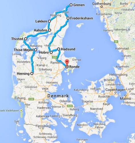 Dagens rute (cirka), fra Google Maps