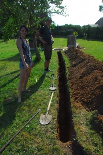 Vi gravede hele to spadelængder.