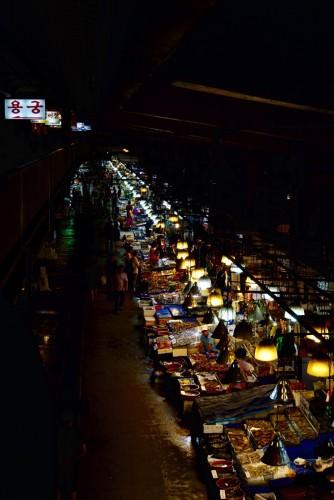 Fiskemarkedet i Seoul. Meget stemningsfuldt sted.