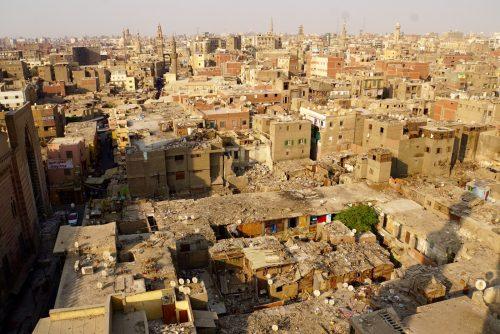 Udsigt fra minareten på byporten i Cairo.