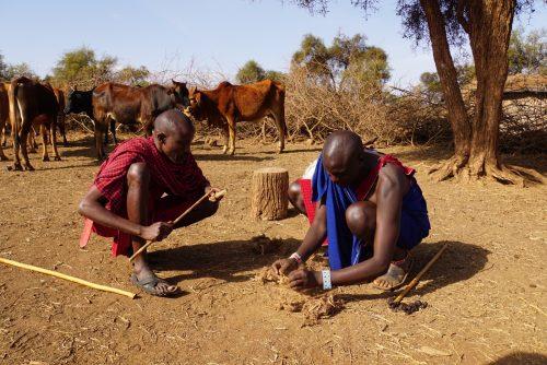 Der tændes bål ved brug af akacietræ og elefantlort.